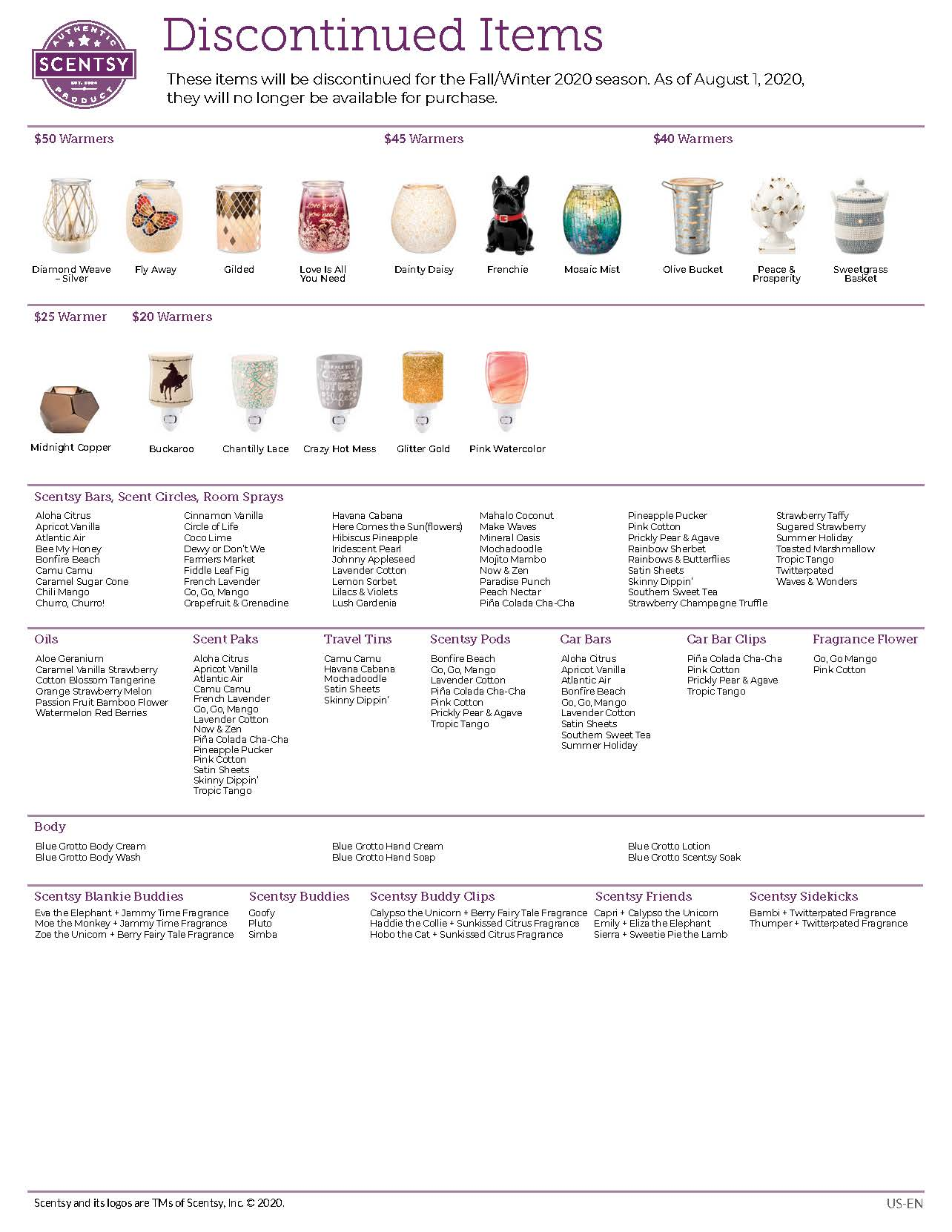 Scentsy 2020 Spring Summer Discontinued List